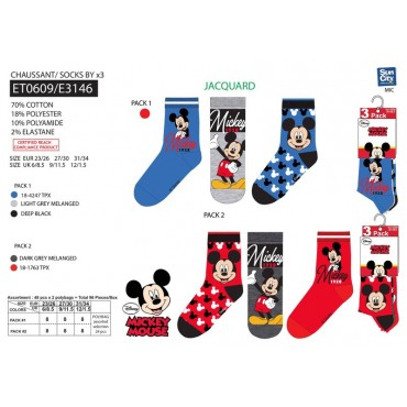 ET0609 - PACK 3 MEIAS MICKEY