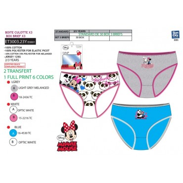 ET3003.23Y - CAIXA 3 SLIPS MINNIE