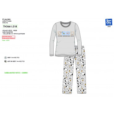 TH3661.E18 - PIJAMA LONGO MICROPOLAR SNOOPY